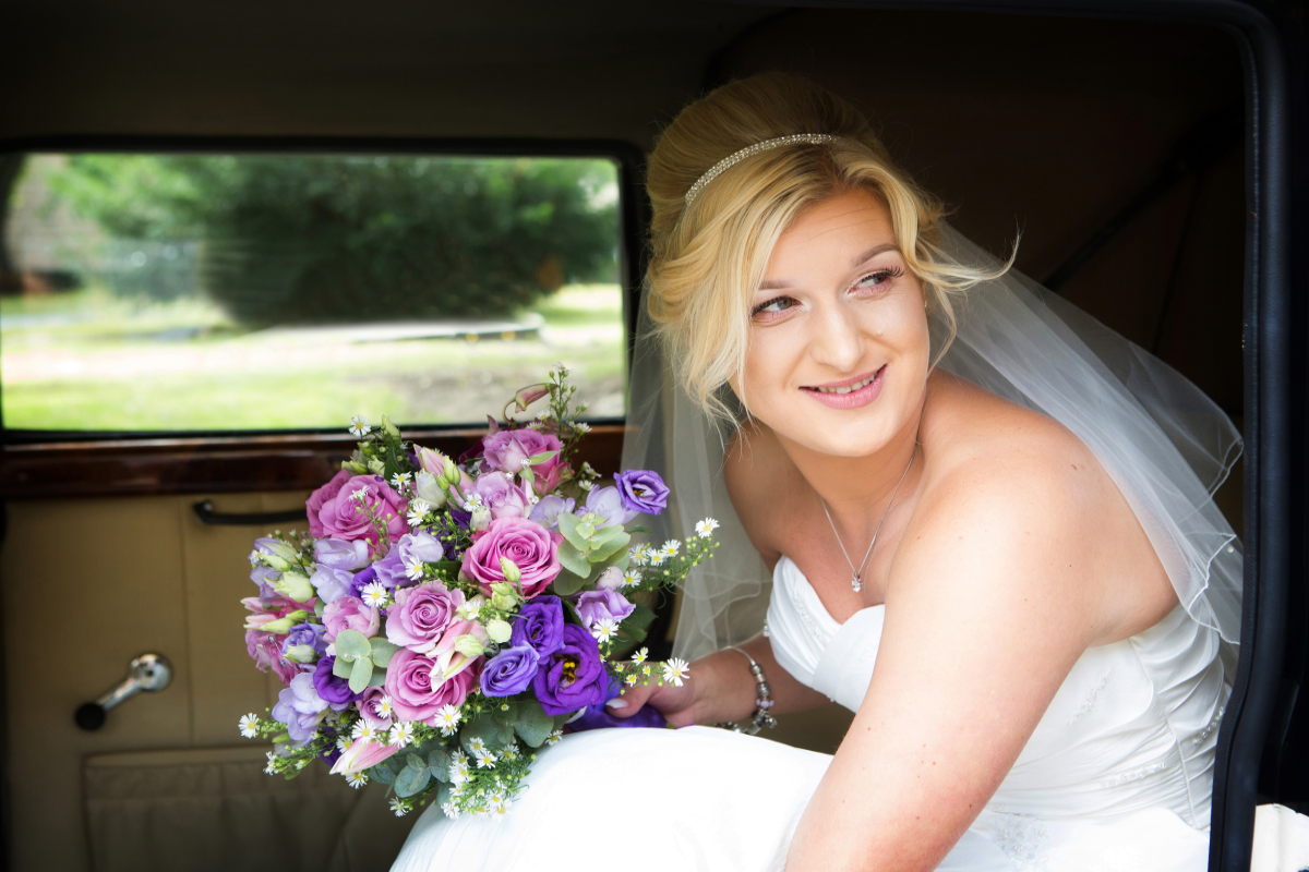 weddings rotherham bride sat in car